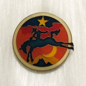 🔮 5/$25 Vintage Cowboy Riding A Bronco Pin